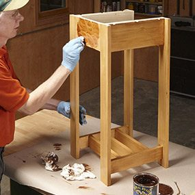 Finish the Charles Rennie Mackintosh end table with poly and stain.