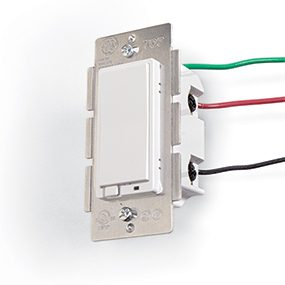 A light switch can be remotely controlled by a home automation network.