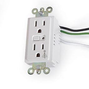 A GE 15-AMP outlet with Iris can be remotely controlled by a home automation network.