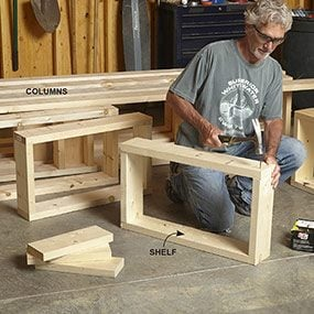 Build the frames for the built-in bookcase/entertainment center according to the plan.
