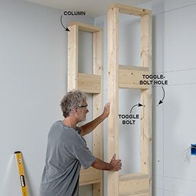 Add the columns for the built-in bookcase.
