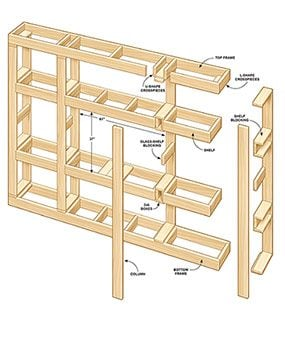 Adopt this plan for the built-in bookcase to the size of your room.
