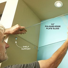 Install glass shelves or another type of shelf if your built-in bookcase plan is different.