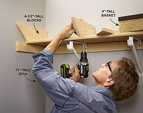 Secure blocking to the existing shelf