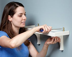 Hang your shelf with small angle brackets