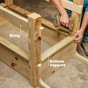 Install the rungs and supports
