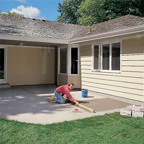 Fill low spots when you build a patio with ceramic tile.