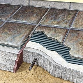 Follow this cutaway when you build a patio with ceramic tile.