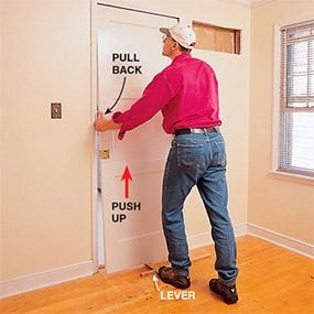 Rehanging a pocket door when repairing a pocket door.