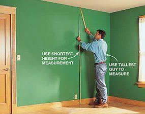 Measure the location where you want the floor to ceiling bookcase to go.