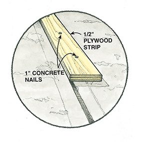 Detail showing picture frame plywood strip installation for resurfacing concrete to fix concrete spalling.