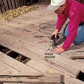 Cutting out decaying boards when replacing deck boards.