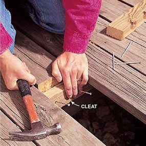Installing cleats when replacing deck boards.