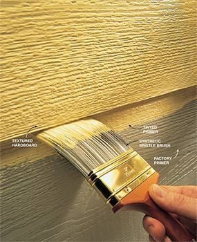 The best outdoor paint for textured hardboard or cementboard is stain blocking primer and 100 percent acrylic latex.