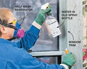 Start the lead paint removal by wetting the surfaces.
