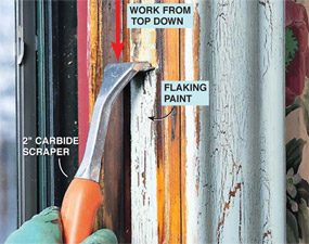Scrape carefully as you work on the lead paint removal.