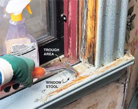 Remove lead paint from the window sills.