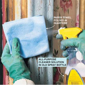 Wet a paper towel to use for cleaning the dust from the lead paint removal.