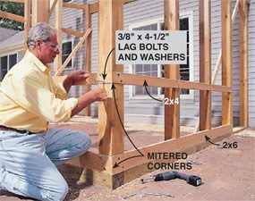 Bolt the frame together as you build the screened in porch.