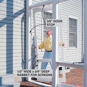 Hang the doors for the screened in porch.