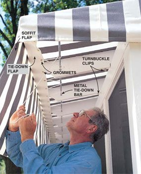 Cover the screened in patio roof with an awning.