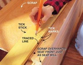 Using the tick stick woodworking jig begin marking the complex shape.