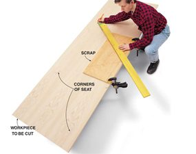 Use the woodworking jig to mark the complex shape on the workpiece.