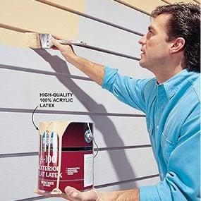 Painting aluminum siding.
