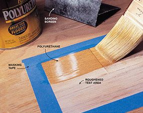 Before refinishing a hardwood floor by screeening it, test for adhesion.