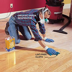 Clean before applying the finish when you're refinishing a hardwood floor.