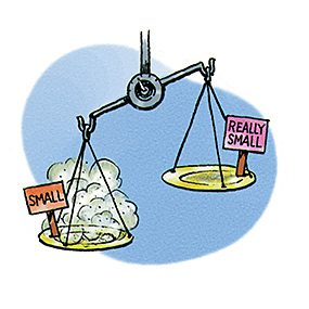Drawing of a scale showing small dust outweighing really small dust.