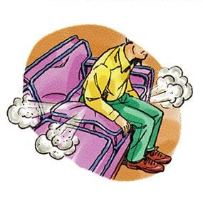 Drawing of dust billowing out of a chair cushion being sat on.