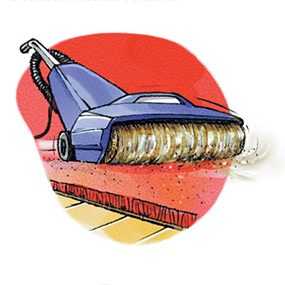Drawing showing vacuum being cleaned with a vacuum cleaner.