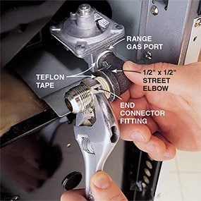 Use a street elbow at the range when you install a gas stove.