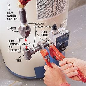 Put the hot water heater gas line back together after installing the new water heater.