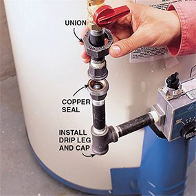 The final step in installing a gas water heater is to reconnect the union.