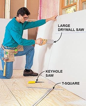 Cut the openings that you marked on the drywall.