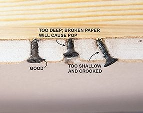 Be sure to drive screws properly when hanging drywall to avoid problems later.