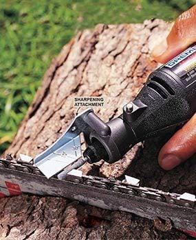 How to sharpen a chain saw with chain saw sharpeners family handyman sharpening a chain saw blade with a dremel tool and a blade sharpening kit greentooth Choice Image