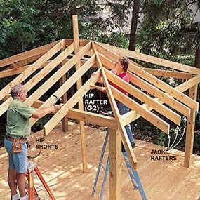 Install and align the jack rafters in the locations shown in the screen house plans.