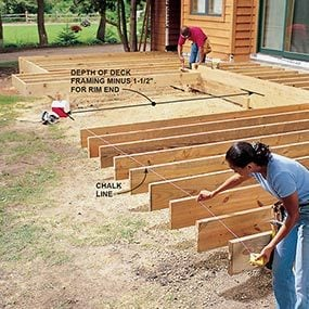 Measure the deck joists from the house and cut them to length.