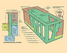 Planters create more privacy and help the deck blend into the house.