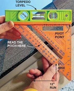 Finding roof pitch with a speed square and a torpedo level.