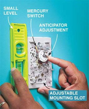 Leveling a thermostat and adjusting its anticipator.