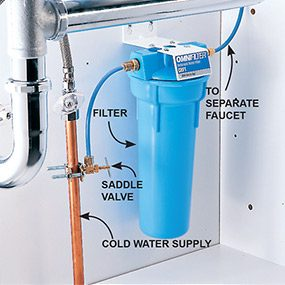 Under-sink filters hide the filter below the countertop and may be the best water filter choice if you like your countertop uncluttered.