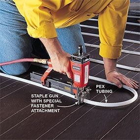 How hydronic radiant floor heating works family handyman for Pex hot water heating system