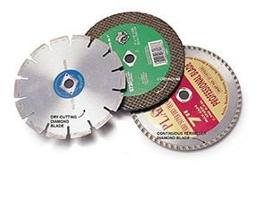 A serrated-edge diamond-tipped 7-in. circular saw blade, a continuous-perimeter diamond-tipped 7-in. circular saw blade, and a corundum 7-in. circular saw blade.