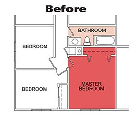 This drawing shows the bathroom before the glass block installation.