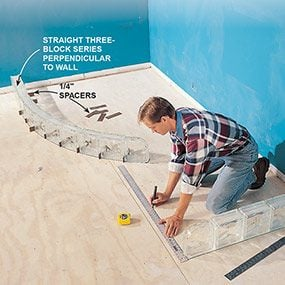 Check the layout with the finish materials before building the shower pan.