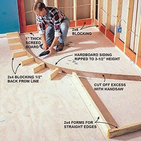 Photo 4 shows how to build a curved form for the shower pan.